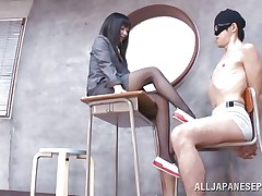 Brunette hair teacher loves treating her bad students with her feet. That babe got this one tied on a chair, blindfolded him and rubbed his schlong with her feet. The treatment she gives him will surely make him a more excellent student and perhaps that guy will repay her with a deep hard fuck.