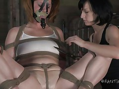 This is how those girls like to play. Cici is all fastened up and has a mask on her face whilst her brunette hotty takes advantage of her body. That babe squeezes her nipples and tongue and then starts rubbing that enjoyable cum-hole with a vibrator.