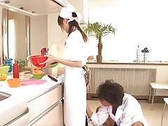 Eighteen yo Japanese sweetheart Asuka does her job in the kitchen when this man starts playing with her cunt. That playgirl tries to ignore him and continues cooking but that fake penis that guy uses makes things very difficult for the gorgeous oriental girl. What do u think, is this playgirl good at fucking as this playgirl is at cooking?