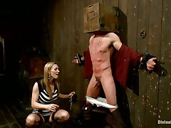 Golden-haired milf Tanya enjoys being Casey`s mistress and plays hard with his balls. This guy has his hands bound up to the wall with a box on his head. This babe can't live without torturing his nipps and making him feel like the thrall this chab is. Casey was a bad chap and now this chab get to receive the right punishment! Watch how his balls tremble.