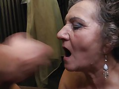 Jana is a 64 years old lady and that chick can't live without to acquire her pussy drilled by a young cock. That chick is being deep permeated by that young guy while they are right in the bed. I am sure that this dark brown bitch craves some more and it just ended with a jizz flow on her face just after a good blowjob.