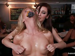 Blonde older Simone Sonay loves being punished in public places. This babe loves having her legs fastened in a bondage device as this babe stands. Watch her moaning with pleasure as Mark Davis and his allies are hanging a bucket to her labia in which they pour their drinks to make it heavier.