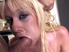 Cockhungry golden-haired is willing for real deepthroat action