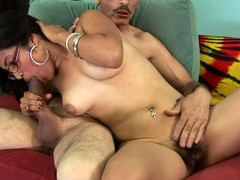 Horny overweight babe receives her hot hirsute cum-hole drilled by a dick!
