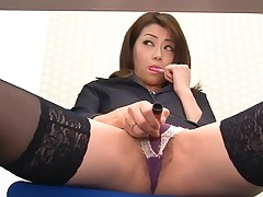 Oriental chick in nylons bows over for wicked fingering
