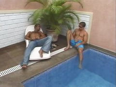 Two guys tempt tgirl outdoors