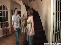 Sexy redhead mommy sucks and fucks juvenile cock on the stairs