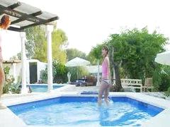 lesbos having fun in advance of garden cam