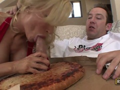 Diamond foxxx eats dick out of the pizza dough
