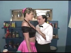 Sexy 50s waitress foreplay fun with 2 guys