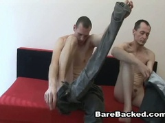 Bareback homosexual paramours hardcore anal fucking couch adventure