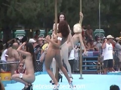 Nudist come out to party and see the honeys dance