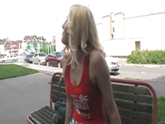 Sexy blonde hottie screwed in public 4 some bucks and joy