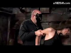 Brunette Girl In Stockings Spanked Getting Tied Up Engulfing Dong In The Dungeon