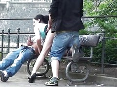 Public trio sex on the street Excellent