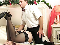 Clothed up playgirl having a romantic date finished with hardcore wazoo banging