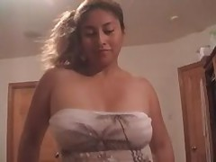 Glamorous Latin cocksucker is craving for loads of man's cum, getting his hard pecker sucked and licked off.