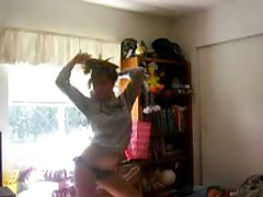 Hot legal age teenager blonde with priceless body and black bikini stripping and dancing for the camera and our joy