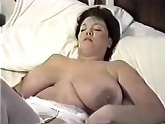 This homemade clip is a mix of sexy clip scenes I have taken of my huge-titted wife. You can see her strip, give me blowjob, shave her cunt, masturbate during the time that I fuck her, play with sex toys and take a bath.
