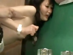 It is a tight fit in this bathroom, and a tight fit in her pussy.  But this couple manages to fuck in several different positions, and finally this chab leaves his sexy cum inside her, a priceless creampie for us to see.