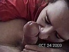Mom is fully clothed in this video. But daddy takes one of her large bazookas out of her shirt to fondle while this chick gives him a slow loving blow job. When that guy cums this chick takes it in her face aperture but it makes her gag and spit his cum all over the place. The clip ends with cum still pouring out of her mouth. I wouldn\'t be surprised if this chick vomited after the clip ends.