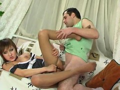 Pantyhosed chick savoring cum-hole-cramming as a reward for a proper footjob