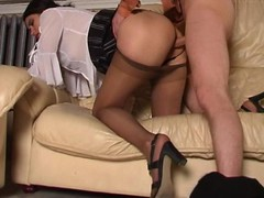 Excited sweetheart savoring fervent vagina massage with her silky hose on