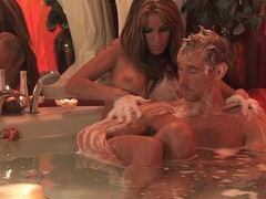 Couple have a joy erotic washroom time soapy massage