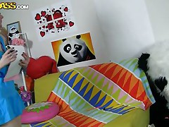 The horny Panda found this time a girl obsessed with him! This gal has a poster with panda on the wall and draws a picture of him now. She's so horny and happy that lastly panda visited her but does this babe knows what his intentions are? Well this babe maybe a bit innocent and stupid but that's how panda likes it!