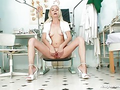 Coz that babe is all alone in the office and has no thing to do, this gilf nurse gets lascivious and starts playing with her cunt. She takes a sit and spreads her long legs and then her love tunnel lips. Look at that taut pink cunt, would you like to see some sexy cream on it? Well, if she's going to be even greater amount nasty maybe that babe will get some