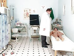 Stripped Mature lady with large tits visits the doctor for her bawdy cleft examination. That babe is ordered to lay on the patient's couch doctor examines her belly and then wears his gloves and tells her to spread her legs so that her cunt can be tested. Doctor examines it and then checks her ass and ask her if that babe had anal sex ever that babe replied with no.