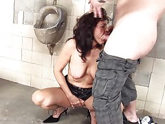She's a dirty whore and does everything a man asks her. Here this babe is, in an abandoned public lavatory engulfing this chap and then licking his asshole previous to that guy bonks her from behind. She's a cougar that enjoys a good dirty fuck and probably will have a fun his semen too so stick with us and see this bitch in full act