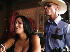 This horny policeman finds a precious milf in a bar and when that sweetheart sees him that sweetheart grabs him by the collar and starts getting horny. He takes her large sexy boobs out squeezing and giving a kiss 'em and after that grabs this slut by the neck and gives her his cock. Watch her as that sweetheart sucks his dick with pleasure, is that sweetheart going to receive some spunk?