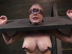 Clamps with weights were attached on her large boobs and duct tape was used to blindfold her. Now this babe stays there in that servitude device and has a rodeo sex machine underneath her that's rubbing her shaved pussy. To make things interesting an executor comes and deeply mouth bonks this slut girl, chocking her with pecker