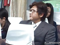 The cute asian schoolgirl got the wrong chair, or perhaps the right one 'cuz she is sitting near a pervert. The fellow doesn't cares that the buss is filled with people, he just takes out his dick and puts her to jerk him. It looks like the schoolgirl is not so blameless 'cuz this little bitch masturbates too!