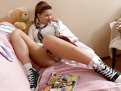 Here young playgirl Klara is entertaining her viewers by showing her nice, smooth and impressive body with sexy bra buddies and cherry like hard nipples on the top of those. Then her lust increases and her pants automatically goes off and a appealing pussy fingering is taking place which will make u horny.