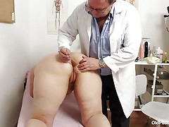 Yvonne is at gynecologist totally naked and waits for the doctor to examine her body. She's a bit obese but that means there's a lot greater quantity to love as the doctor carefully and gently inserts a medical tool in her hot bald dark aperture and then this chab gapes her bald twat looking inside her pink pussy, that cunt is perfect for a hard dick and maybe the doc will give her some fucking therapy.