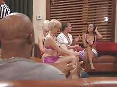 The couples gathered together in a room and the fellows sit quietly as their wife talked about sex and how they should fuck. A chunky Chinese prick is being interviewed and his opinion is that this stuff is just like dating. Well now, let's leave 'em to talk as we enjoy how those naughty blond cunts have some fun.