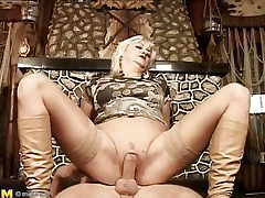 They say older honeys are beautiful lovers, and this is one older woman! That chick loves getting boned, riding her stud's meat just as wonderful as any young slut could do if not better. That chick gets her pussy pounded before laying on her back and her man getting between her, drilling her well-aged cunt.