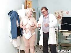 Bozena is a aged lady with big boobs, sexually excited face and big ass. After doctor asks her to undress this chap is using a engulfing machine to make her nipples harder. This doc has a messy mind and surely this chap is making her horny, who knows what tricks this chap has to make this old bitch willing to fuck.