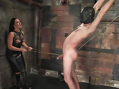 Marioara is a slut from Romania, this floozy has the skills to satisfy each guy that desires some domination and pain. Here this hottie is in full action taking nice care of her sex slave, Lefty, and this hottie does her most nice 1st by using a rope betwixt his legs and then whipping him, now this hottie thonged on a dildo, what will this hottie do with it?