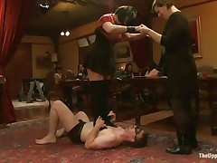 Young babes, milfs, skinny girls, curvy girls, all kinds are here on The Upper Floor! First, u watch a babe getting a marital-device on her pussy. Next, a woman standing on a man's chest, dominating him. Next, the butler fucking Dylan Ryan during the time that she eats Krysta Kaos who's sitting on her face. Wow!
