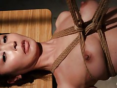 Have a look at this hawt cunt, she's all tied up and hangs there quietly until that babe acquires roughly mouth fucked with a dildo. The intensity and brutality of the fucking makes our bitch horny! She's not only fucked, the executor slaps her and strangulates her too. After all that he leaves the bitch hanging in the black