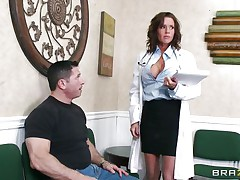 Veronica knows how to take care of her patients. She examines this man and then makes a decision that the ideal treatment for him would be a mean blowjob. The hot milf doc opens her face hole with pleasure and slips her lips and tongue in that big hard penis. Will she acquire repaid with a big load of semen on her face?