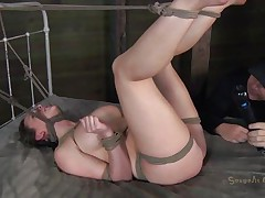 Pretty Chanel is tied hard on the bed. Rope is used to keep her legs up and her neck almost strangulated. The executor plays with her pink vagina and rubs it hard with a sex tool before sticking his dong inside it. She moans and her large bumpers bounces at every jack off this chab gives her. Will this babe get cum on her pretty face?