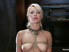She's a thin sexy golden-haired with a pair of lips that are perfect for sucking schlong and a bubble butt that demands some serious fucking. Watch her as she's fastened up and hangs there while the bald chap copulates her slit hard and his ally takes care of her mouth. That babe enjoys a ruff fuck, will this babe have a fun some cream too?