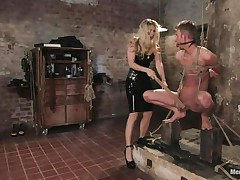 That hottie got her guy tied nice-looking priceless and now she's having some joy with his body, paying a lot of special attention to his cock. This sexy bossy milf with blonde hair and fit body is using her tools to taunt and induce pain to her man. Look at her spanking his 10-Pounder and body as he's tied up and ball gagged.