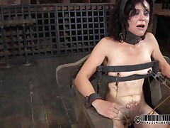 That chair is perfect for miss James. She's naked, thonged on it and a bit terrified with what's about to happen. The executor gapes her cunt using metal clamps and some kind of dildo is filling her womb. The pleasant brunette endures her punishment and step by step she learns to like it!