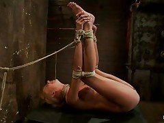 She's Kaylee and her pink soaked snatch says it all as the executor applies a vibrator on it and then the brunette lesbo with hot ass copulates that bald muff with a strap on dildo. Kaylee is tied up real good and her hot legs are spread wide so we can perfectly see what is happening with her love tunnel and how the lesbo enjoys inserting her sex toy in it. Her blonde hair, pretty face and soaked muff can make any chap horny and ready to cum on them, but what will the lesbo chick do, will she receive more help from that guy?