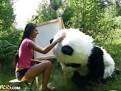 Mr. Panda is outside in the centre of nature and the thin brunette honey that's with him wishes to prove him what an artist this playgirl is. Well, this playgirl may not be worthwhile at painting but this playgirl surely knows how to make him pleased by sucking his big panda cock. Stay with 'em and have a fun the wilderness of the forest and much greater quantity